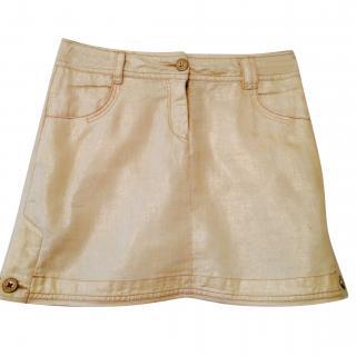 Donna Karan DKNY Girls Linen Cream Gold Shimmer Skirt