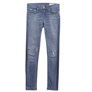 Rag & Bone Blue Ripped Skinny Jeans