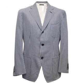 Tom Ford Blue and White Checkered Blazer