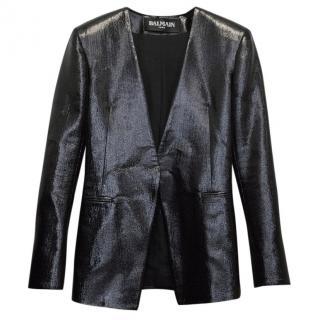 Balmain Black Metallic No Buttons Blazer