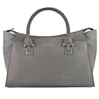 Smythson Eliot Leather Handbag, Graphite Grey