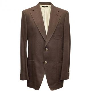 Tom Ford Brown Silk-Linen Blazer