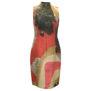 AKRIS High Neck Multicolour Print Abstract Dress