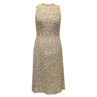 Michael Kors Textured Beige Cotton-Linen Dress