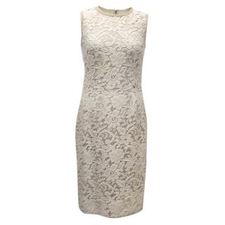 Dolce and Gabbana Cream Lacy Cotton Blend Dress