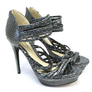 Alexandre Birman Grey Leather Strappy Sandals