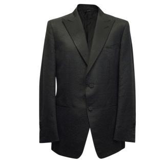 Tom Ford Black Silk-Linen Blend Textured Blazer