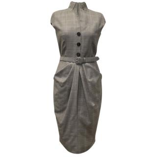 Christian Dior Wool Grey and Lilac Dress with Belt
