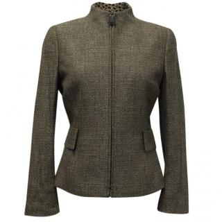 Akris Grey/Nude Wool Zip Up Jacket