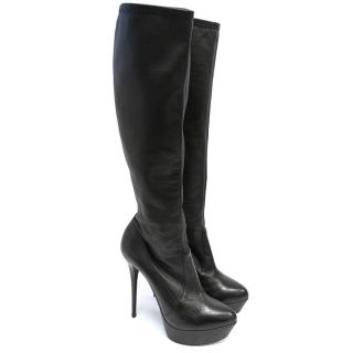 Casadei Black High Heel Leather Boots