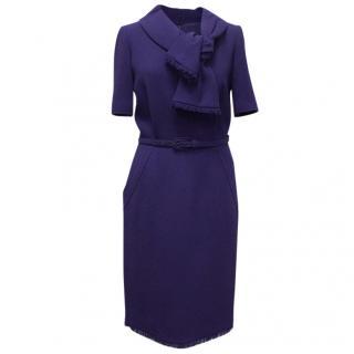 Oscar de la Renta Cobalt Blue Dress with Belt