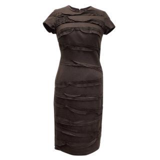 Oscar de la Renta Eggplant Dress With Ruffles
