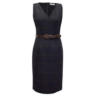 Christian Dior Sleeveless Blue Wool Blend Dress with Belt