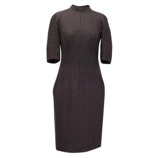 Akris Eggplant Wool Blend Dress with Front Zip
