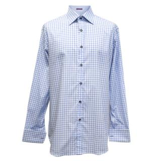Paul Smith Blue and White Checkered Print Shirt