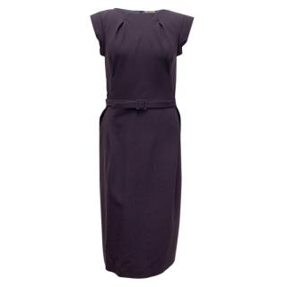 Bottega Veneta Purple Wool Dress with Belt