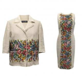 Dolce and Gabbana Multicolour Floral Print Linen Shift Dress Suit