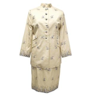 Ascot & Henley Cream and Blue Embroidered Chinese Suit