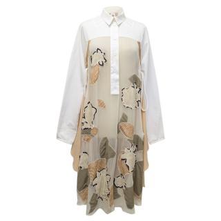 Kenzo defile Silk Sheer Embroidered Shirt Dress