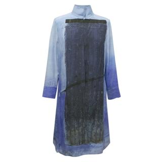 Akris Blue Print Silk Shirt Dress