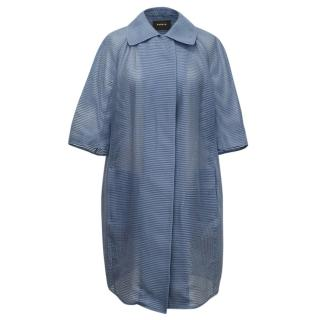 Akris Blue Striped Sheer Coat