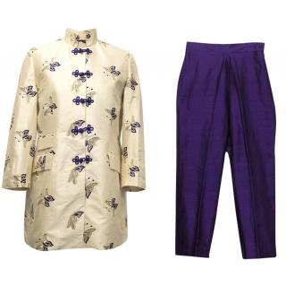 Ascot & Henley Cream and Purple Chinese Suit