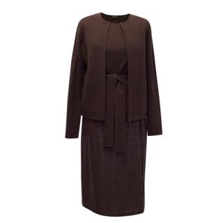 AKRIS Burgundy Pleated Leather Skirt and Twinset