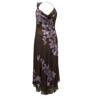 Jenny Packham Eggplant Gown with Embroidered Flowers