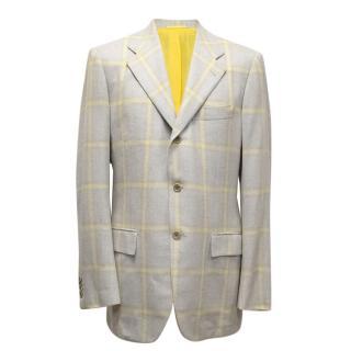 Kiton Grey With Yellow Check Blazer