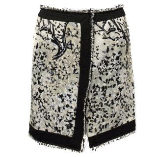 Balenciaga Wool Print Mini Skirt