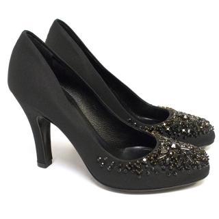 Prada Black Heeled Pumps With Embellished Toes.
