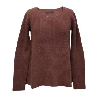 The Row Maroon Cashmere Round-neck Sweater