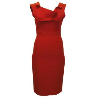 Roland Mouret Red Veila Origami Pleated Neck Dress