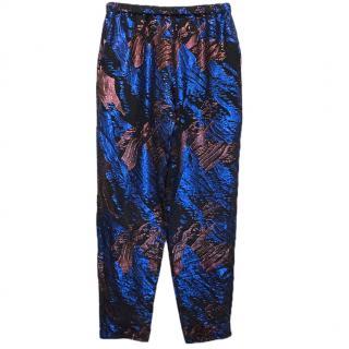 Maje Metallic Jacquard Black & Blue Sheer Trousers