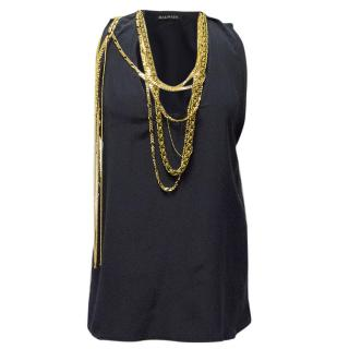 Balmain Navy Blue Sleeveless Top with Gold Chains