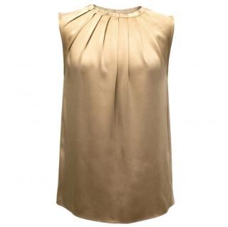 Michael Kors Gold Silky Top With Pleat Neckline