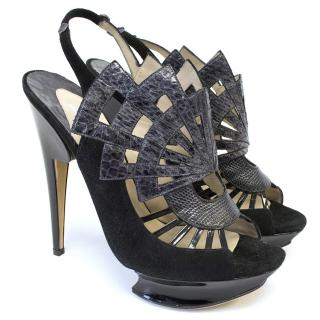 Nicholas Kirkwood Black Suede and Leather Cutout Sandals