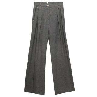 Fendi Grey Wide Legged Wool Blend Pants