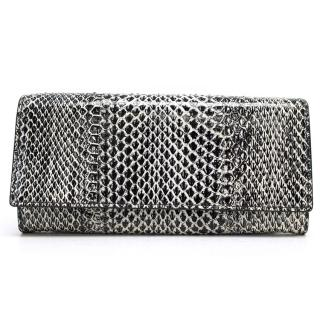 Jil Sander Black and White Snakeskin Purse
