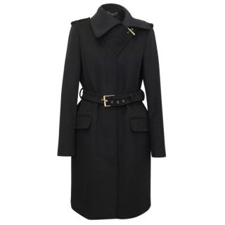 Gucci Black Belted Wool Coat