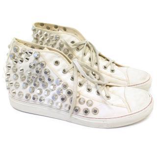 Maison Martin Margiela White Studded Sneakers