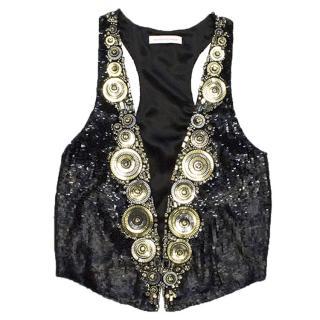 Matthew Williamson Black Silk Sequin Vest
