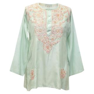 Leaves of Grass Mint Long Sleeved Embellished Top
