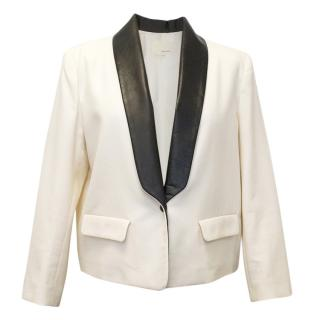 Band of Outsiders Cream Jacket With Leather Lapels