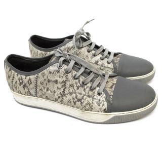 Lanvin Grey Snakeskin Sneakers