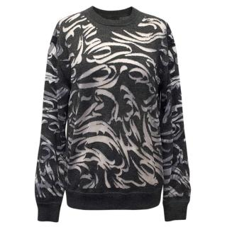 Alexander Wang Grey Sheer Print Jumper