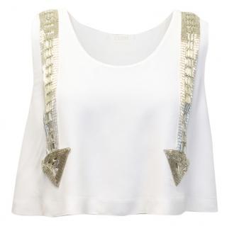 Chloe Cream Crop Top With Embellished Arrows