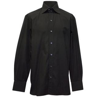 Tom Ford Black Double Button Collar Dress Shirt