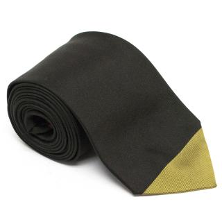 Paul Smith Silk Black Tie with Dark Yellow Tip