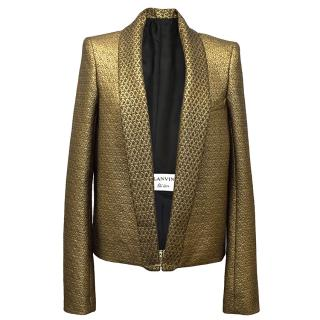 Lanvin Gold Metallic Jacquard Jacket